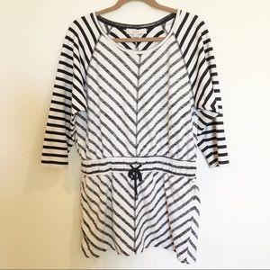 LOFT striped cotton drawstring waist dress Med
